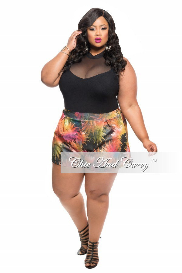 New Plus Size Romper with Sleeveless Sheer Top and Black, Yellow and Pink Bottom