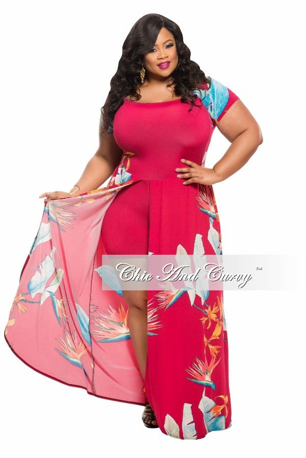 New Plus Size Romper with Attached Long Skirt in Dark Magenta ...
