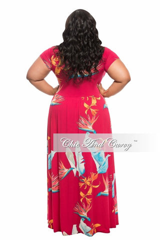 New Plus Size Romper with Attached Long Skirt in Dark Magenta, Orange and Blue