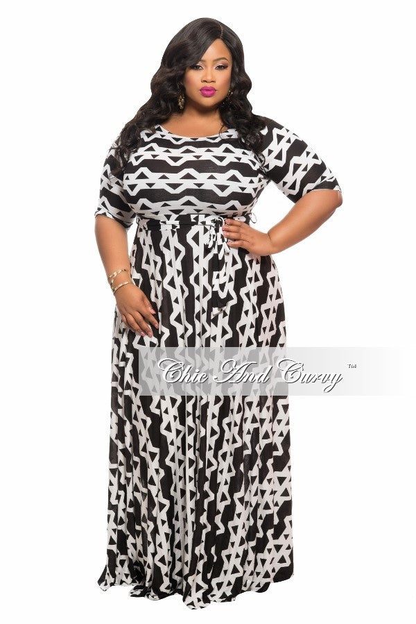New Plus Size Long Dress w/ 3/4 Sleeve, Side Pockets, and Tie in  Black and White Print