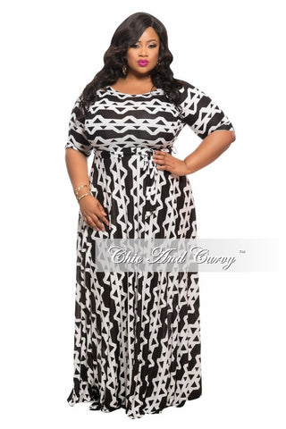 50% Off Sale - Final Sale Plus Size Long Dress w/ 3/4 Sleeve, Side Pockets, and Tie in  Black and White Print