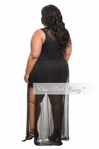 New Plus Size Romper with Mesh Overlay and Slit in Black