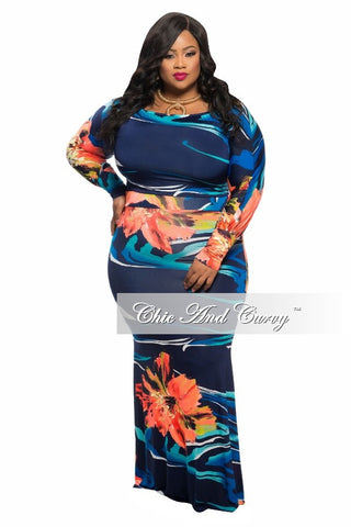 Final Sale Plus Size 2-Piece Crop Top and Mermaid Bottom Skirt in Blue, Green and Orange