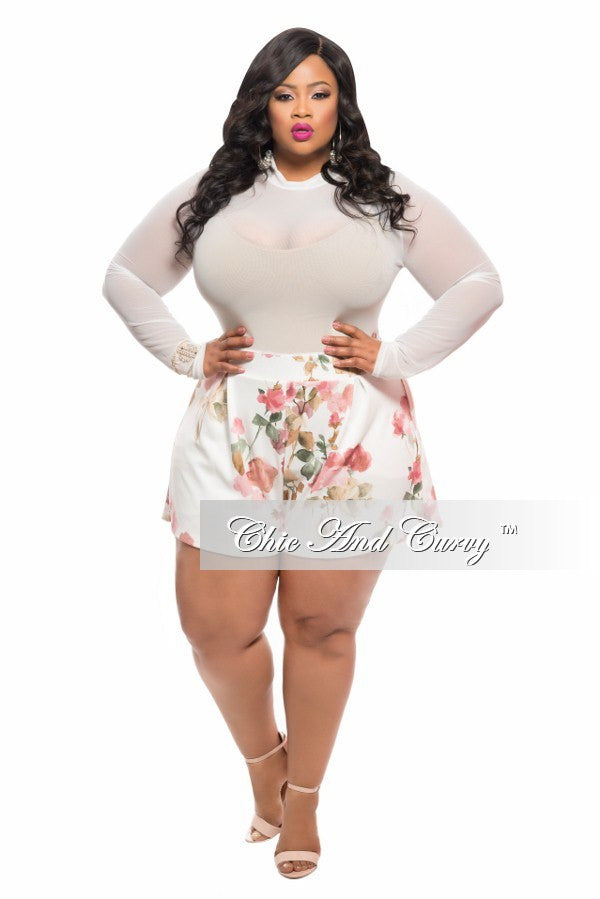 Final Sale Plus Size Romper with Sheer Top and Off White, Rose and Brown Bottom