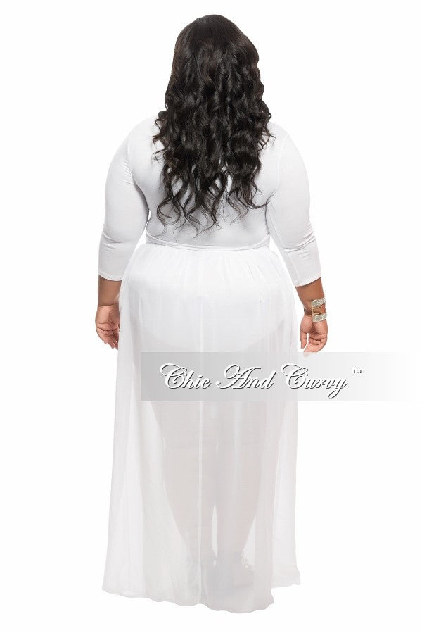 Final Sale Plus Size 2-Piece Top and Mesh Skirt Set in White