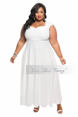 Final Sale Plus Size Dress with Cap Sleeves in White