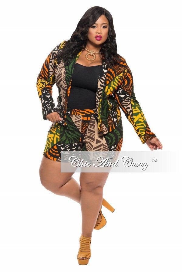 Final Sale Plus Size 2-Piece Set with Shirt and Shorts in Tribal Print