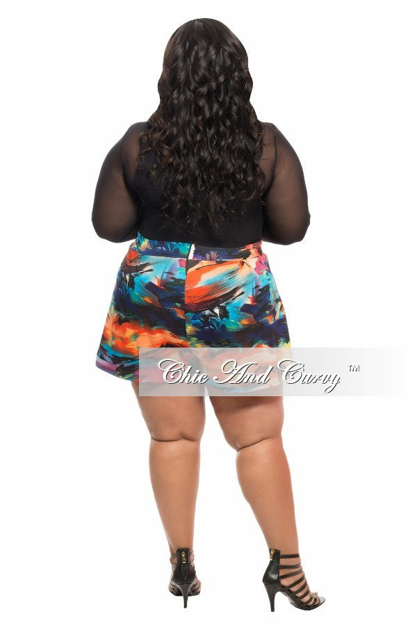 Final Sale Plus Size Romper with Sheer Top and Black, Turquoise, and Blue Bottom