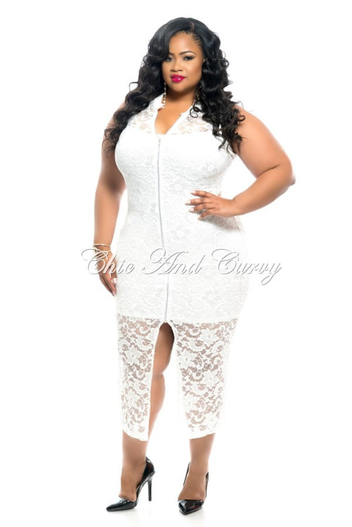 50% Off Sale - Final Sale Plus Size Sleeveless Lace Dress with Zipper Front in White