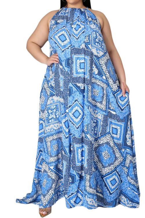 Final Sale Plus Size Long Halter Dress with Back Tie in Blue Bandana Print