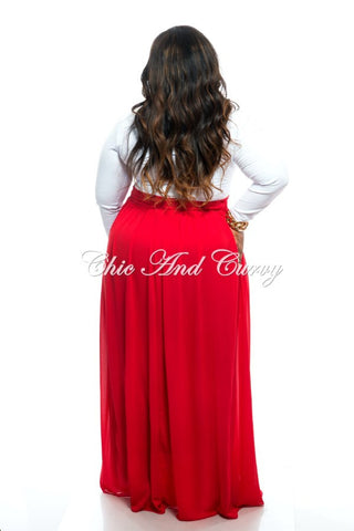 New Plus Size Long Chiffon Skirt with Tie in Red