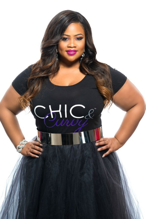 Final Sale Plus Size Chic And Curvy T-Shirt in Black and Purple