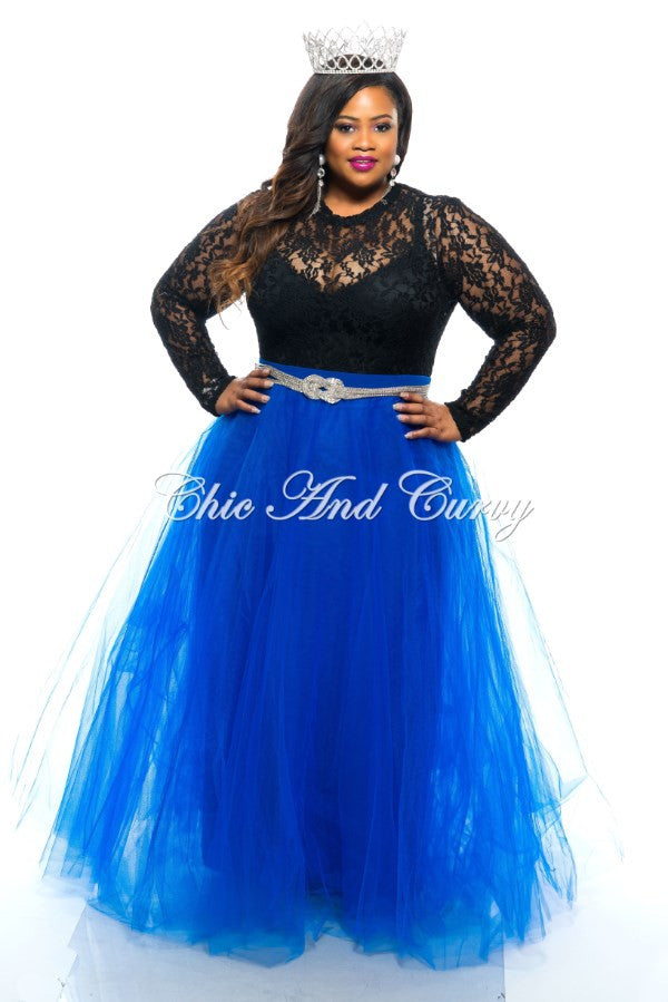 Final Sale Plus Size Long TuTu Skirt in Royal Blue