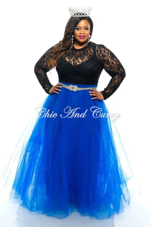 50% Off Sale - Final Sale Plus Size Long TuTu Skirt in Royal Blue