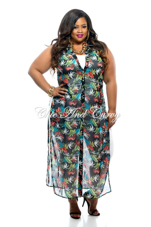Final Sale Plus Size Long Sheer Cover Up With Slits in Black Red Teal and White