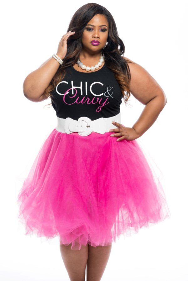 Final Sale Plus Size TuTu Skirt in Hot Pink