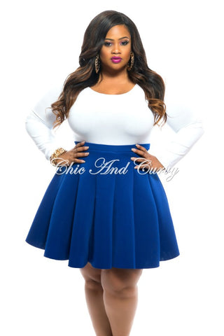 New Plus Size Skirt in Neoprene Fabric in Royal Blue