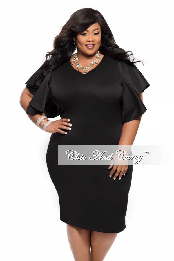 New Plus Size BodyCon with Ruffle Sleeves in  Black