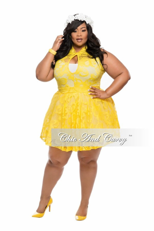 New Plus Size Skater Dress with Cutout in  Yellow Lace