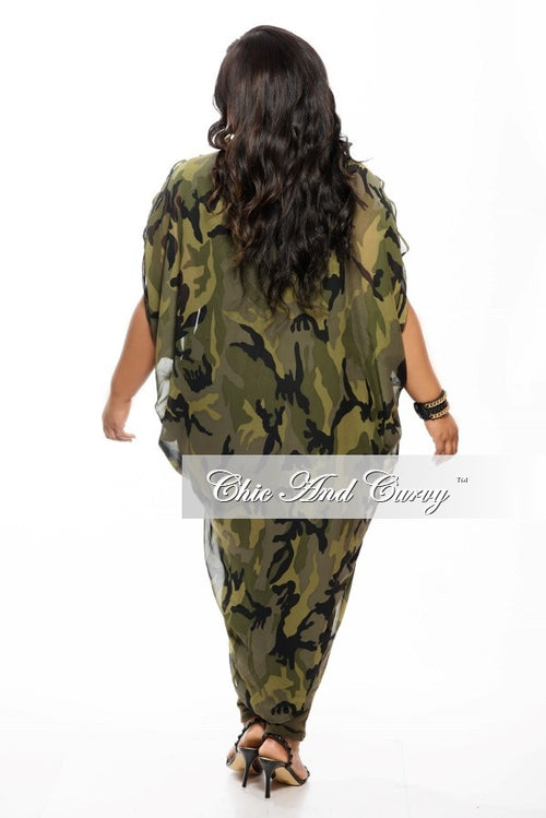 Final Sale Plus Size Sheer Kimono in Camo Print