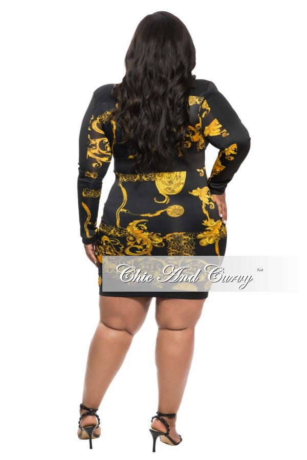 Final Sale Plus Size BodyCon Dress with Zip Front in Gold and Black
