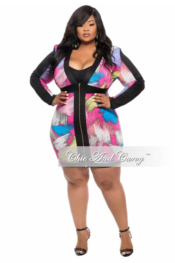 Final Sale Plus Size BodyCon Dress with Zip Front in  Pink, Blue and Yellow