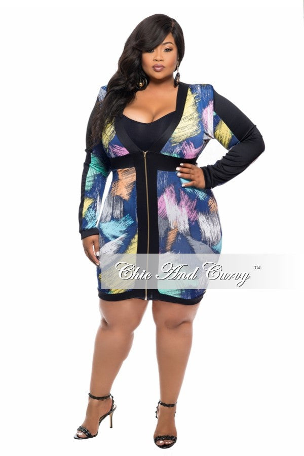 New Plus Size BodyCon Dress with Zip Front in Blue, Pink and Orange