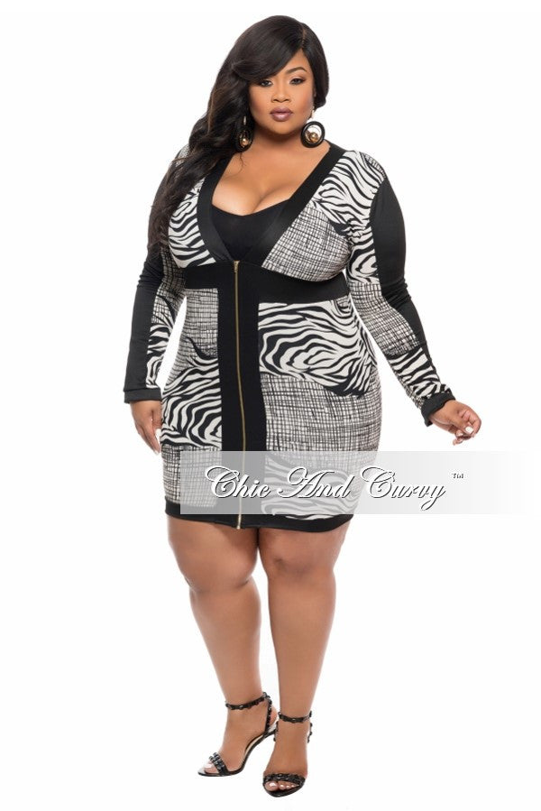 Final Sale Plus Size BodyCon Dress with Zip Front in Black and White Zebra Print