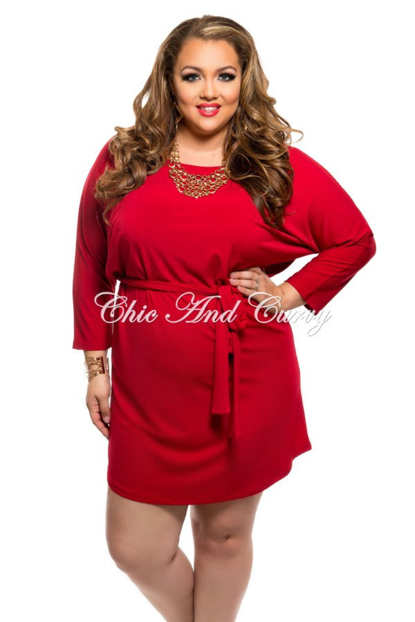 New Plus Size Shirt Dress With Tie In Red Chic And Curvy