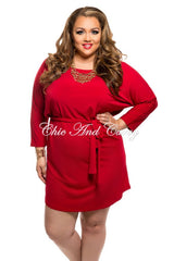 Final Sale Plus Size Shirt Dress with Tie in Red