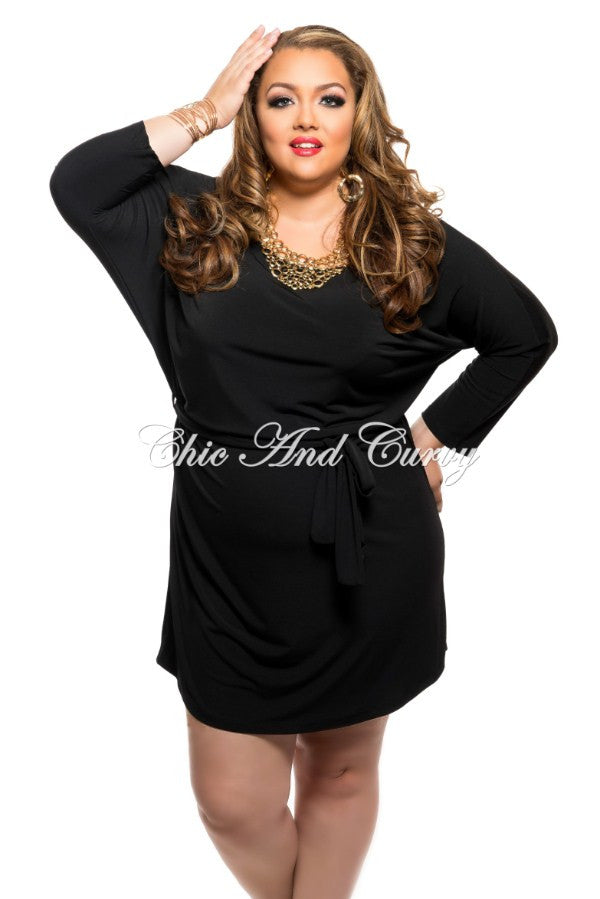 New Plus Size Shirt Dress with Tie in Black