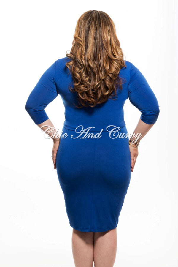 Final Sale Plus Size 2 Piece Crop Top and Skirt in Royal Blue