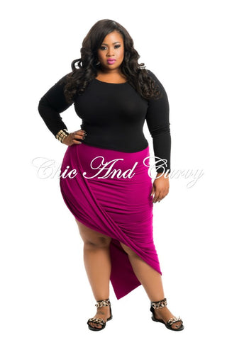 New Plus Size Skirt with Gather and Drop Effect in Magenta