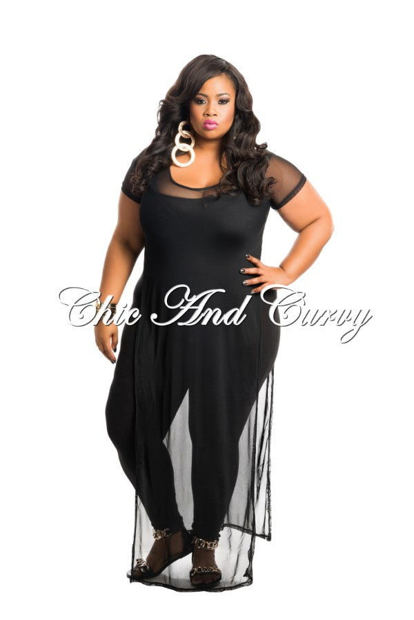 Final Sale Plus Size T-Shirt Dress in Black Mesh