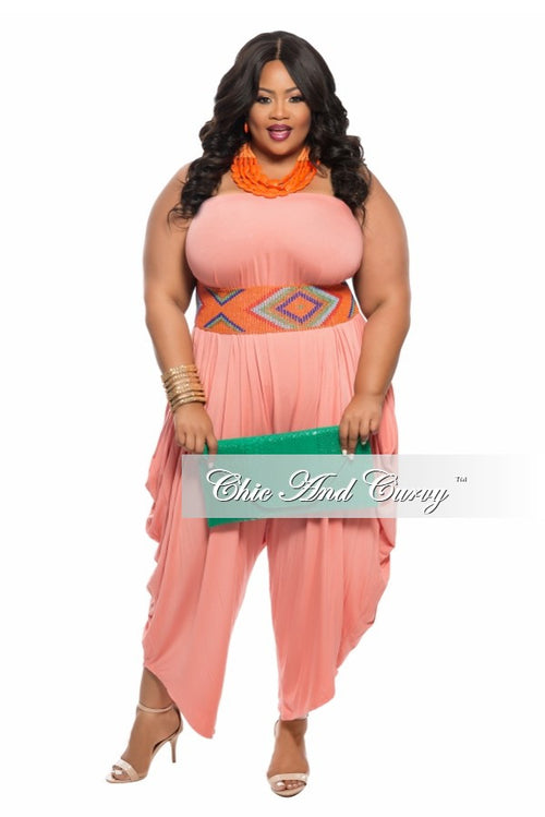 New Plus Size Strapless Harem Jumpsuit in  Peach