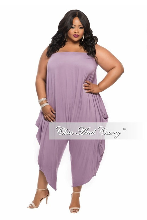 New Plus Size Strapless Harem Jumpsuit in  Lilac Purple
