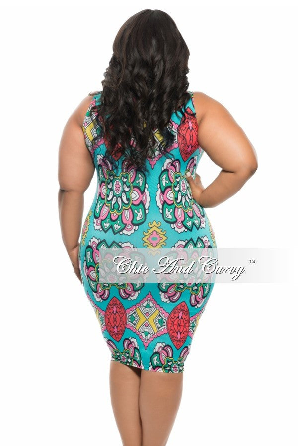 New Plus Size Sleeveless BodyCon w/ Neck Tie in  Turquoise, Pink and Yellow Print