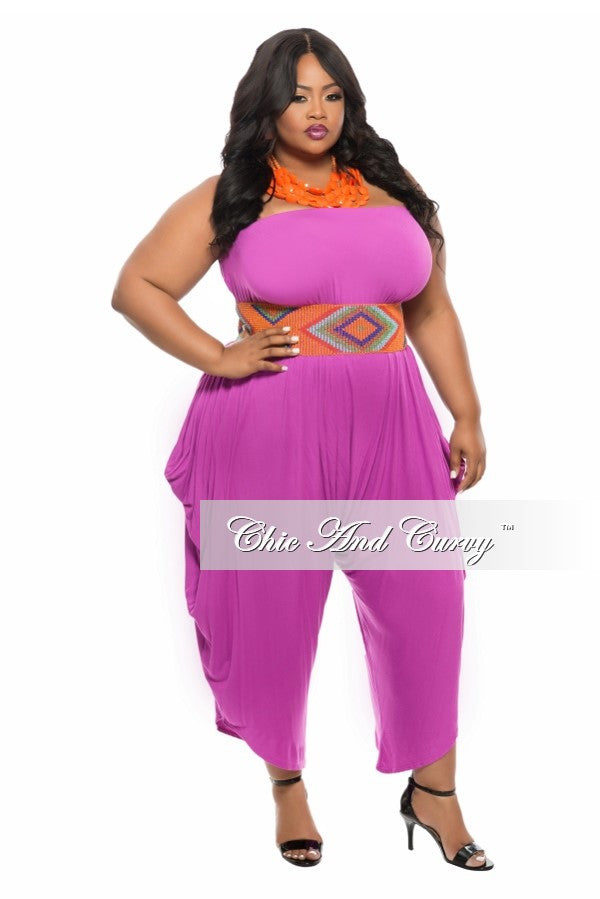 c1f6b903566 New Plus Size Strapless Harem Jumpsuit in Magenta – Chic And Curvy