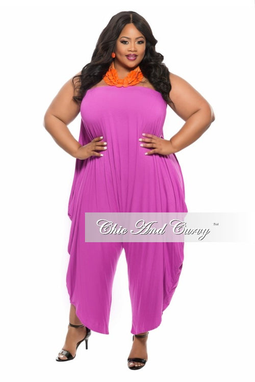 New Plus Size Strapless Harem Jumpsuit in  Magenta