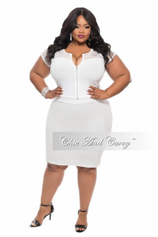 Final Sale Plus Size BodyCon 2-Piece Skirt and Top Mesh Set in Off White