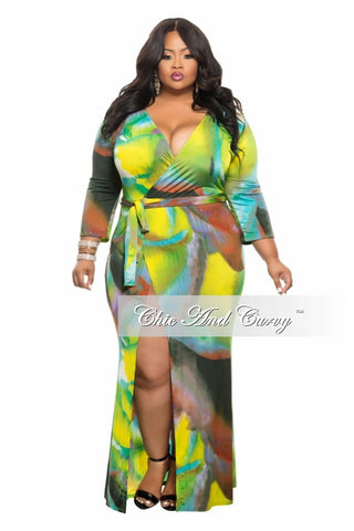 50% Off Sale - Final Sale Plus Size Wrap Dress in   Lime, Purple and Green