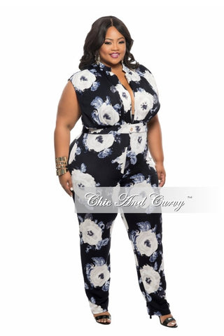 New Plus Size Jumpsuit with Deep V Neck in  Black, Grey and Blue