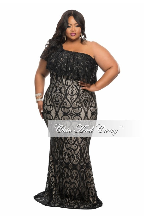 New Plus Size Lace Gown with One Sleeve in  Black