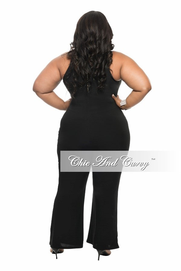 New Plus Size Halter Jumpsuit with Silver Zipper in  Black