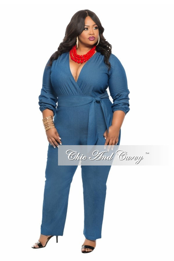 New Plus Size Jumpsuit with Tie in  Denim Blue