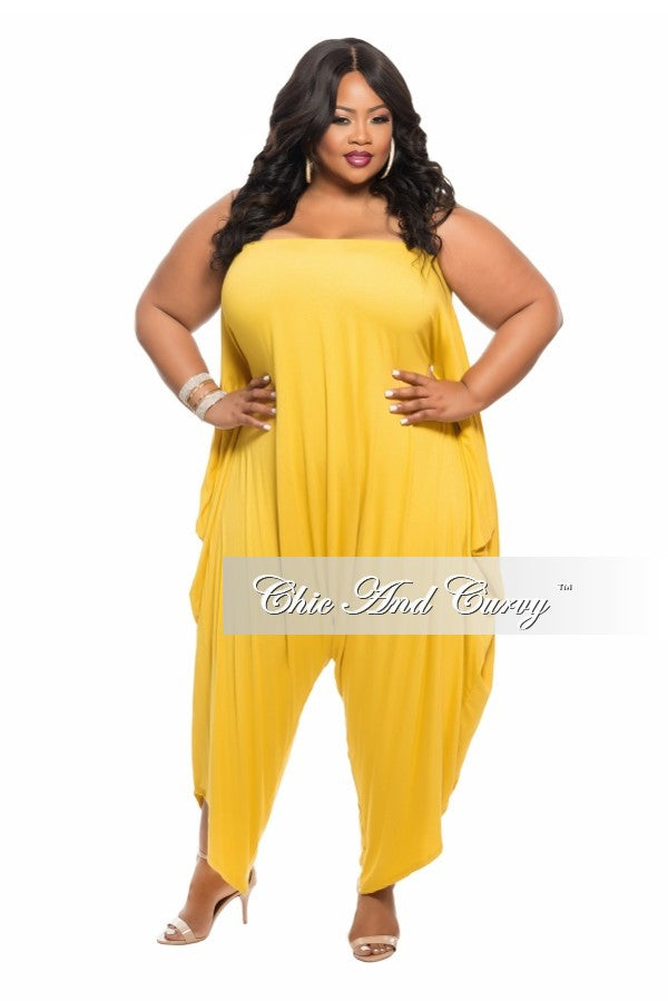49e796cbe7c Final Sale Plus Size Strapless Harem Jumpsuit in Mustard – Chic And Curvy