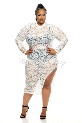 Final Sale Plus Size BodyCon All Lace CoverUp with Thigh Cutout Design in Winter White