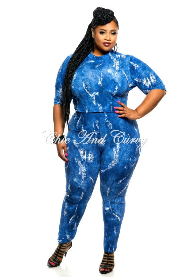 Final Sale Plus Size 2-Piece Top and Pant Set in Blue Tie Dye Print