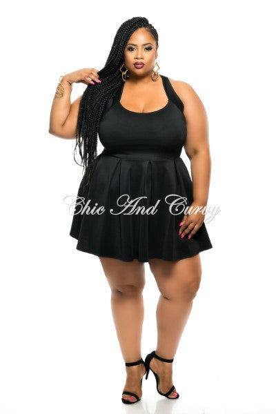 New Plus Size Skater Dress with Criss-Cross Back in Black