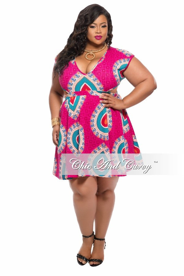 Final Sale Plus Size Skater Dress with V Neck and Side Cut Outs in Magenta, Teal and Orange Print